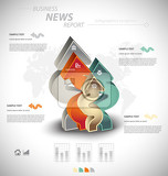 Fotografie business infographic template for interactive data communication
