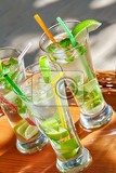 three mojitos with glass in outdoor