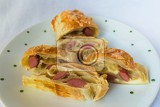 puff pastry stuffed with salami and cheese chunks