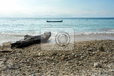 Photo dream beach bali indonesia nusa penida island with blue sky and boat