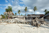 traditional indonesian poor house  cabin on beach nusa penida island toyapakeh