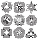 calligraphic decorative optical illusion flower elements