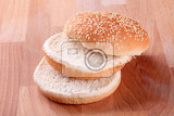 slices of sesame seed bun  ready for hamburger