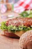 closeup of a cheeseburger  ready to eat