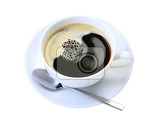 Fotografie cup of black coffee isolated on white
