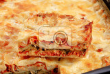 Fotografia detail of tasty lasagna in a baking pan