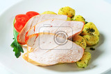 slices of roast turkey breast and potatoes