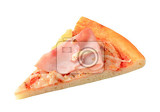 Fotografia slice of fresh baked pizza hawaii