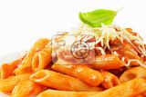 penne pasta with meatbased tomato sauce and cheese