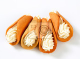 Fotografie czech coneshaped gingerbread cookies stramberk ears filled with whipped cream