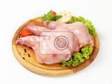 Photo fresh rabbit meat on cutting board