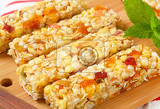 Photo cereal bars with pieces of dried apricot and apple