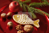 Fotografie christmas still life  gingerbread cookie nuts and red apple