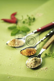 Fotografie three spoonfuls of seasonings