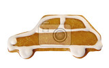 gingerbread car decorated with sugar icing