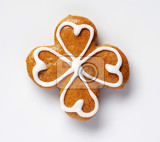 Fotografia gingerbread cookie decorated with sugar icing  studio