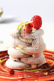 crescentshaped vanilla cookies with pudding and fruit