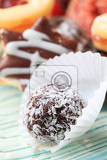 coconutcoated chocolate ball in paper cases