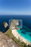 Fotografie dream beach on coastline at bali manta point famous diving place nusa penida with blue sky