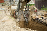 excavator ploughshare on trench  constructing canalization in european project  wastewater treatment plant ecology project