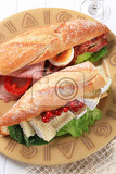 sub sandwiches with cheese and ham