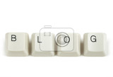 blog text from scattered keyboard keys isolated on white background
