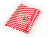 red and white checkered cloth napkin