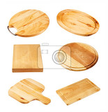 Fotografia various wooden cutting boards isolated on white background