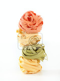 Photo bundles of dried ribbon pasta