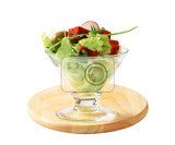 vegetable salad with olives and paprikacoated cheese