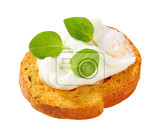 Fotografie small round toast with cheese spread