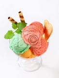 Photo scoops of fruit sherbets decorated with wafers