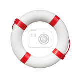 blue and white life buoy isolated on white