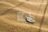 euro coin lying in the sand on the beach