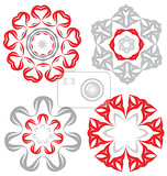 duocolor abstract flower set for creative design