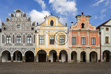 telc czech republic  unesco city a row of the houses on main square