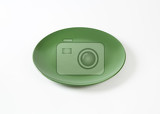 Photo daily use round green dinner plate
