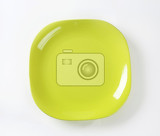 Photo square shaped yellow green  plate with rounded corners
