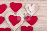 valentines wooden hearts on a retro background  valentines day day valentine postcard