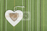 Fotografie valentines wooden hearts on fabric  valentines day day valentine postcard with space for text
