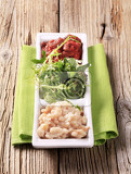 white beans red bean salsa and salad greens