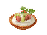 Fotografie small cream tart topped with fresh grapes