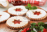 christmas shortbread cookies with jam filling  detail