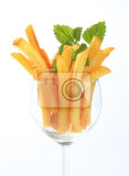fresh french fries in a wine glass
