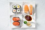various types of sushi  overhead