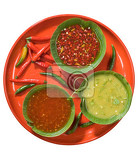 variety of spicy vegetable sauces