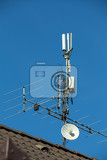 Photo television antenna and wifi transmitter on the roof