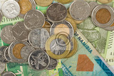 south african countries banknotes and coins for background botswana pula namibian dollar south africa rand and zimbabwe dollars
