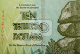 macro of zimbabwe twenty billion dollars banknote now void currency inflation concept