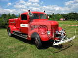 Fotografia old vintage fire red engine from czech